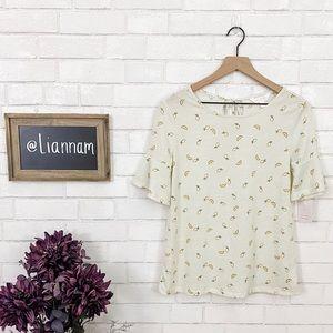 LC Lauren Conrad Lemon Print Bell Sleeve Top